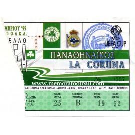 Entrada Panathinaikos vs Deportivo de la Coruña Copa de la UEFA 1999-00