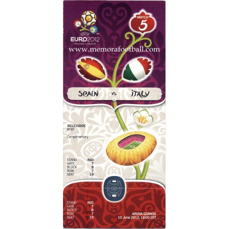 Spain vs Italy 2012 UEFA European Football Championship ticket