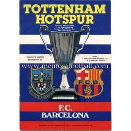 Programa Tottenham Hotspur v FC Barcelona 07-04-1972