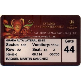 Entrada Bayern Munchen v Internazionale 2010 UEFA Champions League Final