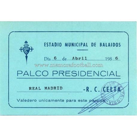 Celta de Vigo vs Real Madrid 12-02-1986 Liga Española