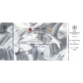 AC Sparta Praha vs Real Madrid 21-11-2001 ticket