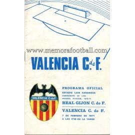 Valencia vs Sporting de Gijón 1971 programa oficial