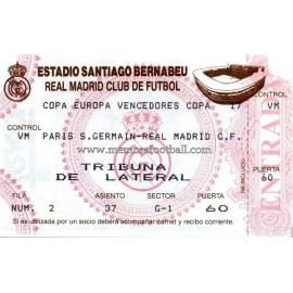 Entrada Real Madrid vs Paris Saint Germain (02-03-1993)