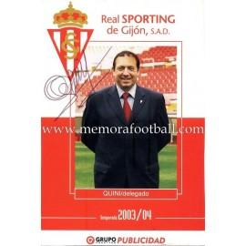 """Enrique Castro """"QUINI"""" tarjeta firmada 2003-04"""