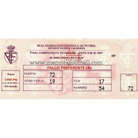 Spanish FA Cup 1989 Final ticket. Real Madrid vs Real Valladolid