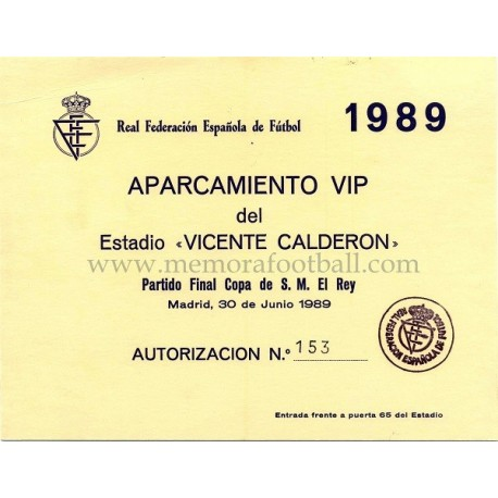 Spanish FA Cup 1989 Final Parking pass Real Madrid vs Real Valladolid