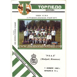 FC Torpedo Moscow v Real Madrid - UEFA Cup 1992-93 1/16 Final programme