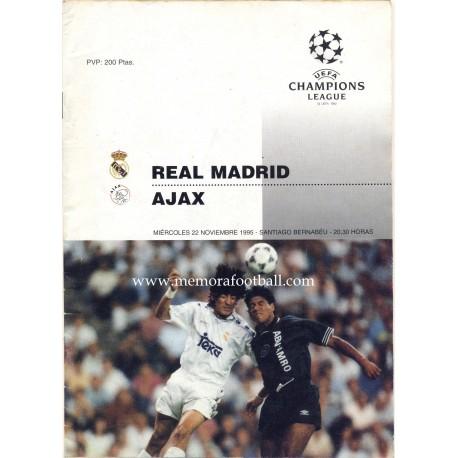 Real Madrid v Ajax - UEFA Champions league 22/11/1995 programme