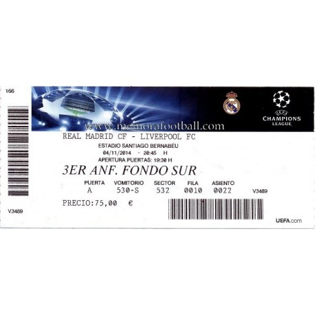 Real Madrid vs Liverpool 2014-15 Champions League ticket
