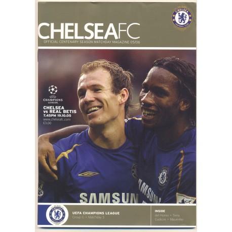 Chelsea v Real Betis UEFA Champions League 19-10-2005 programme