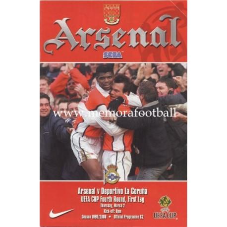 Arsenal v Deportivo de la Coruña UEFA Cup 1999/2000 Official Programme