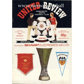 Manchester United v Valencia CF UEFA Cup 15-09-82 official programme