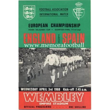 England v Spain European Championship 1968 programme