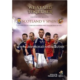 Scotland v Spain UEFA Euro 2012 Qualifier Programme