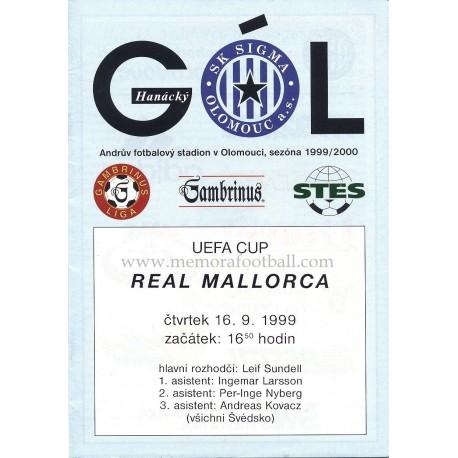 SK Sigma Olomouc v Real Mallorca UEFA Cup 1999/2000 Official Programme