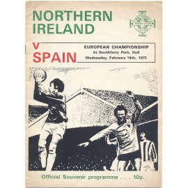Northern Ireland v Spain European Championship 1972 Qualifier Programme