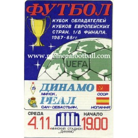 FK Dinamo Minsk v Real Sociedad - Cup Winners´ Cup 1987-88 programme