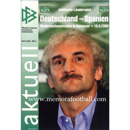 Germany v Spain 16-08-2000 Frindly Match programme