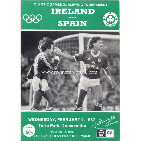 Ireland v Spain 1988 Olympic Games Qualifying Match programme