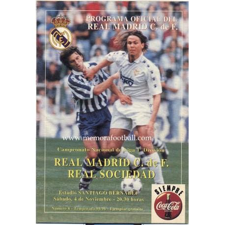 Real Madrid v Real Sociedad LFP 04/11/1995 Official programme