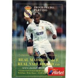 Real Madrid v Real Valladolid  LFP 18/05/1997 Official programme