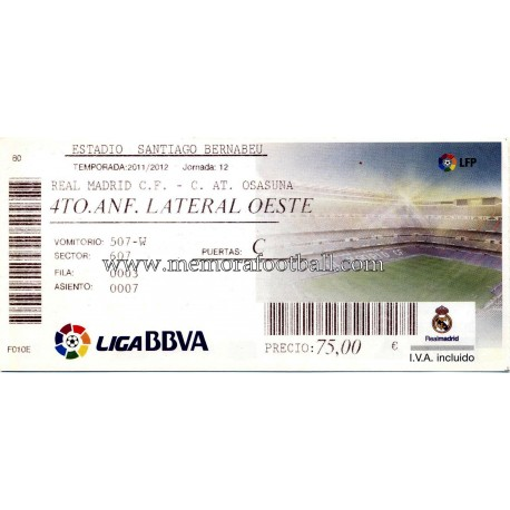 Real Madrid Vs At Osasuna Lfp 2010 11 Ticket