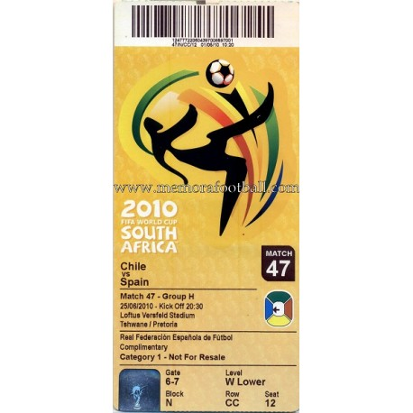 Chile vs Spain - 2010 FIFA World Cup  ticket