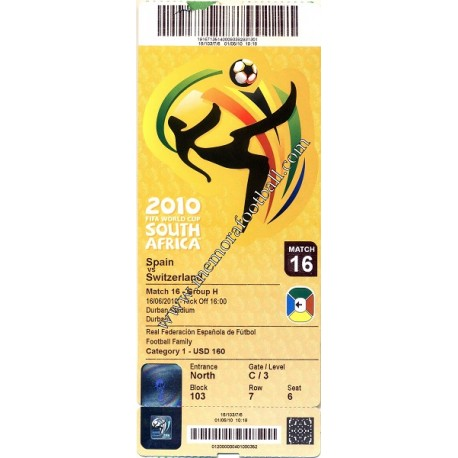 Spain vs Switzerland - 2010 FIFA World Cup ticket