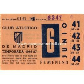 Recibo de socio Atlético de Madrid 1956-1957