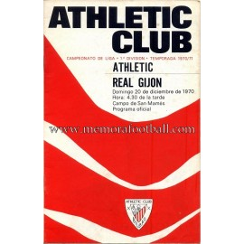 Athletic Club vs Real Gijón 1970 programa oficial