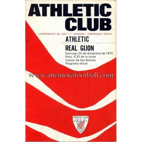 Athletic Club vs Real Gijón 1970 programa oficial