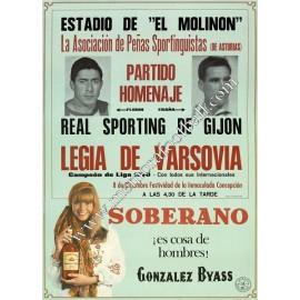 Sporting de Gijon v Legia de Varsovia 08/12/70 poster