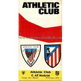 Programa del partido Athletic Club vs Atlético de Madrid 27-10-1974