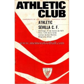 Programa del partido Athletic Club vs Sevilla CF 21-03-71