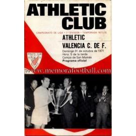Athletic Club vs Valencia CF 31-10-1971 programa oficial