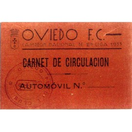 Carnet de Circulación del OVIEDO FC 1933