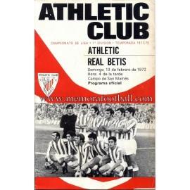 Programa del partido Athletic Club vs Real Betis 13-02-72