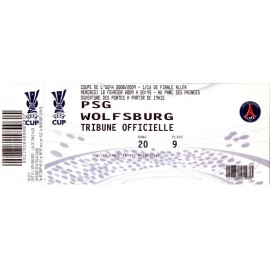 PSG vs Wolfsburg 18-02-2009 UEFA Cup ticket