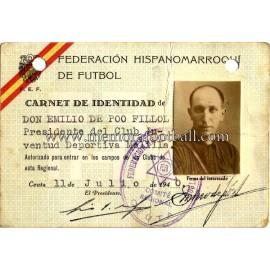 Carnet de la Federación Hispanomarroquí de Fútbol 1940