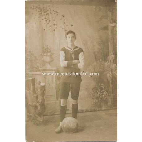 Young man in football strip, circa 1900, England post card