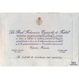 Invitación a la Cena Oficial partido España v Francia 17-03-1955