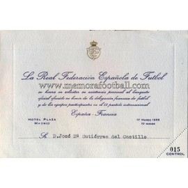 Spain vs France 17-03-1955 Official Dinner invitation