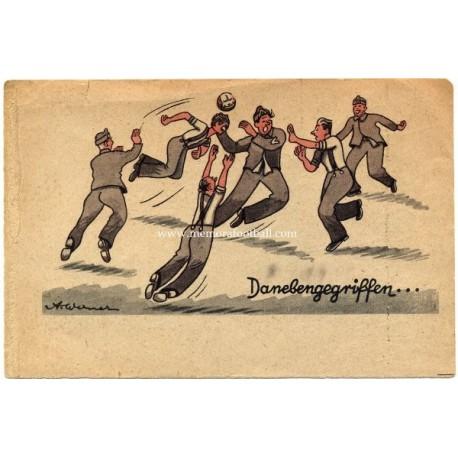 German football & war postcard, 1942